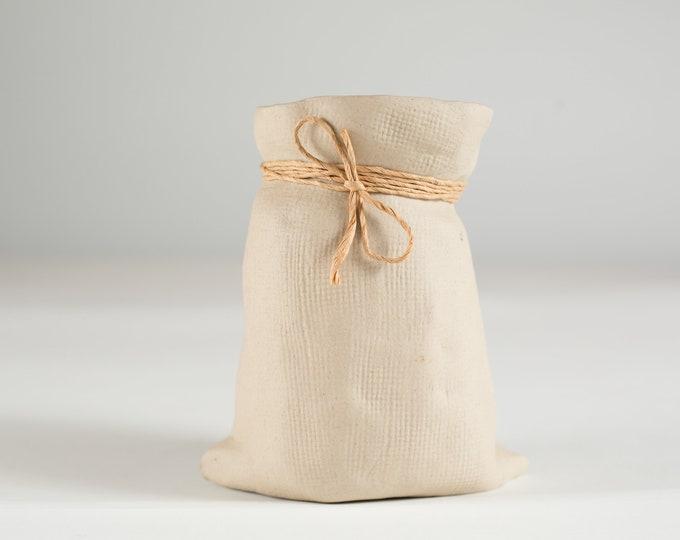 Vintage Ceramic Jar - Paper Bag Style Handcrafted Beige Coloured Lifelike Pencil Holder - Rustic Boho Modern Decor