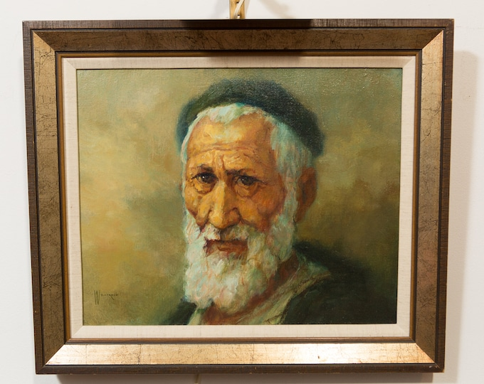 Original Oil Painting of Man's Face - Israel Male Portrait - White Bearded Old Man with Wrinkles - Signed Weintraub Portrait of an old man