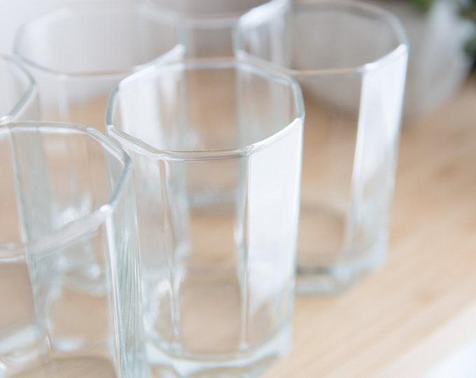 10 Octagon Glasses - 8oz Small Vintage Set of Lowball Tumbler Barware Glasses - Retro Geometric Drinking Water Glasses