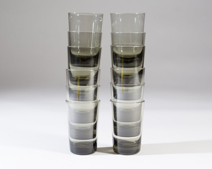 12 Vintage Cocktail Glasses - 4oz Small Handblown Grey Smokey Tumbler Glasses - Mad Men Retro Barware / Glassware