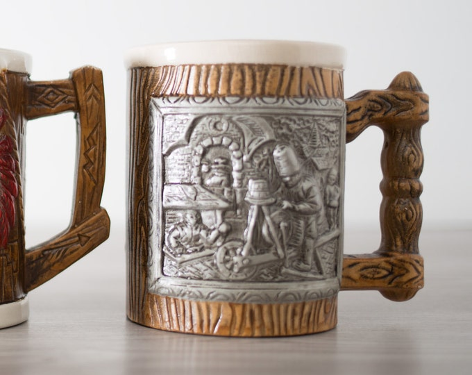 Souvenir Mug with Grey / Silver Color Artisan Scene / Vintage Rustic German Style Stein / Canadiana