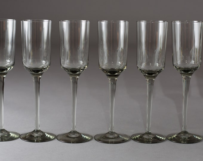 8 Smoke Grey Champagne Fluted - 5oz Apéritif Glass - Set of Vintage Orrefors Rhapsody Stem Glasses (MCM Mad Men 1960's Style Liquor Barware)