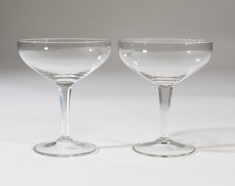 Champagne Coupe Crystal Glasses - Pair of 4.5oz Mid Century Modern Hollywood Regency Cocktail Glasses - Retro Party New Years Christmas