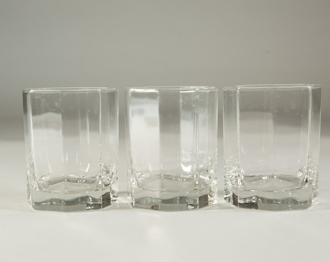 3 Octagon Glasses - 12oz Vintage Set of Lowball Tumbler Barware Glasses - Retro Geometric Drinking Water Glasses