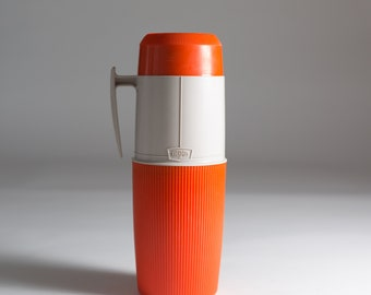 vintage thermos vacuum bottle - Orange Colored Dipped Glass Lined Vacuum Flask Coffee Thermos - Camping Travel Hot Chocolate Thermos