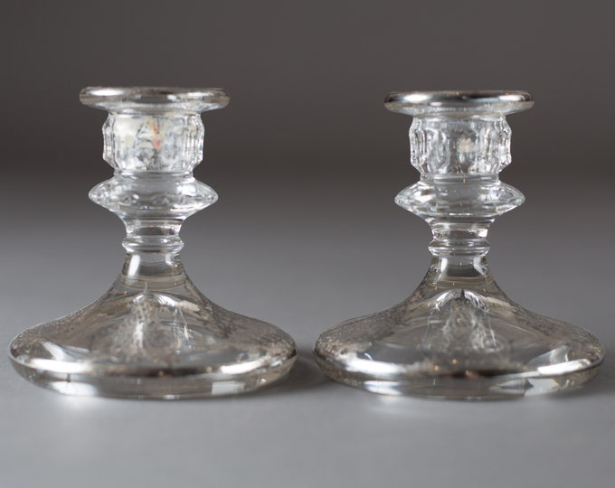 Vaseline Candlestick Holders - Glass with Ornate Silver Overlay Dinner Table Decorative Metallic Silver Plated  Christmas Decor