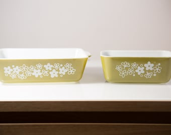 Two Corning Pyrex Refrigirator Containers - Olive Green Casserole Dish with Flower Pattern