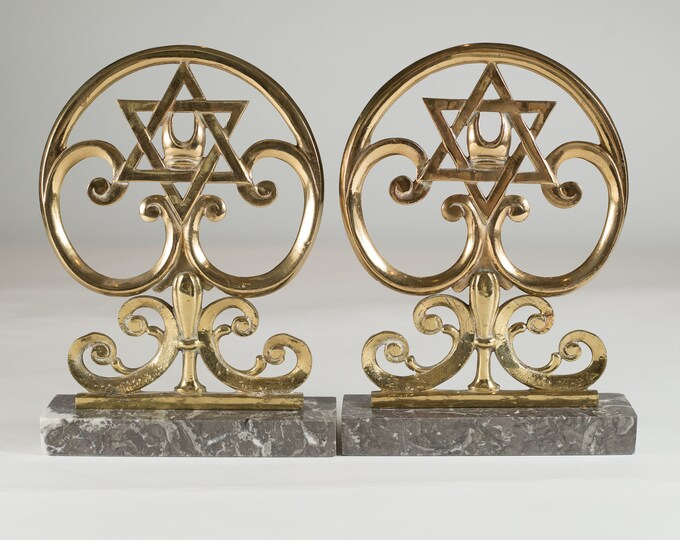 Judaica Bronze Plaques with Start of David Surrounded by Scrolling and Mounted to Marble Base - Judaism / Jewish Gold Coloured Plaques