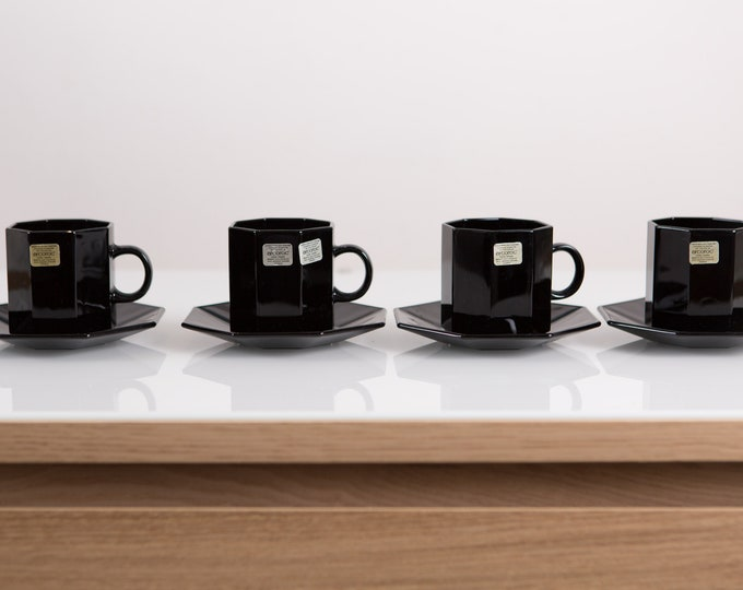 1980's Black Octagon Espresso Cups - Vintage Mid Century Modern Minimalist Geometric Mugs - Made in France -French Arcoroc