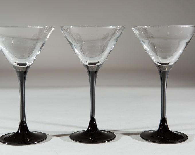 4 Vintage Martini Glasses - 1980's Black Stem Glasses - New Year's Eve Party Celebration Glassware - Liquor Stemware / Mother's Day Barware