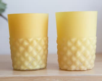 Antique EAPG Pineapple Yellow Glass Tumblers - Vintage Collectible Early American Victorian Kitchenware with Geometric Pattern