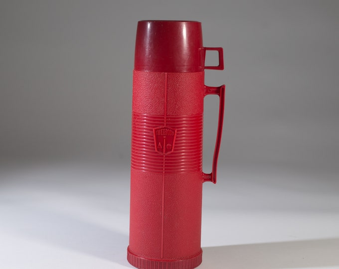 vintage thermos vacuum bottle - Red Colored Dipped Glass Lined Vacuum Flask Coffee Thermos - Camping Travel Hot Chocolate Travel Mug