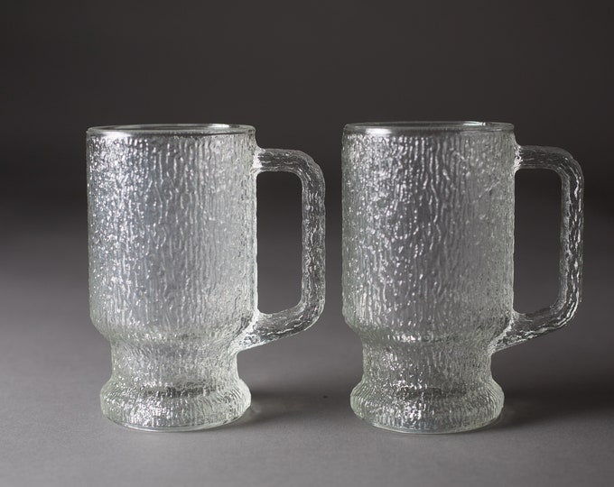 Vintage Icicle Glass Mugs -  Pair of Frosty Scandinavian Finnish Style Frosted Finland Cocktail Glasses - Mid Century Modern Ice Norwegian