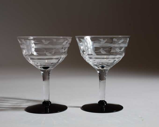 2 Vintage Champagne Coupe Glasses with Black Bases Etched Pattern Glasses - Mid Century Modern Cocktail Glasses with Ornate Pattern