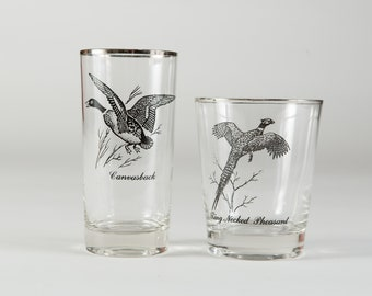Vintage Game Bird Glasses - Father's Day 1970's Black and Silver Rim Cocktail Glass - Ring Necked Pheasant, Canvasback