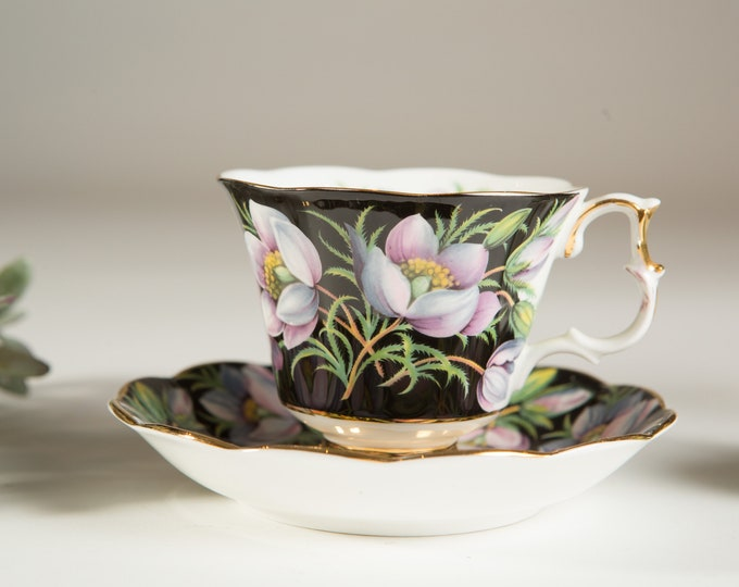 Vintage Bone China Teacup - Royal Albert Provincial Flowers Prairie Crocus Bone China Teacup and Saucer - Made in England