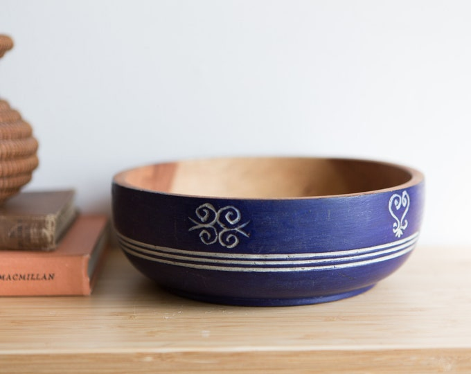 Wood Salad Bowl with Blue Exterior - Vintage Solid Exotic Wood Food Safe Serving Appetizer Dish - Hand Carved Danish Modern Nordic Bowl