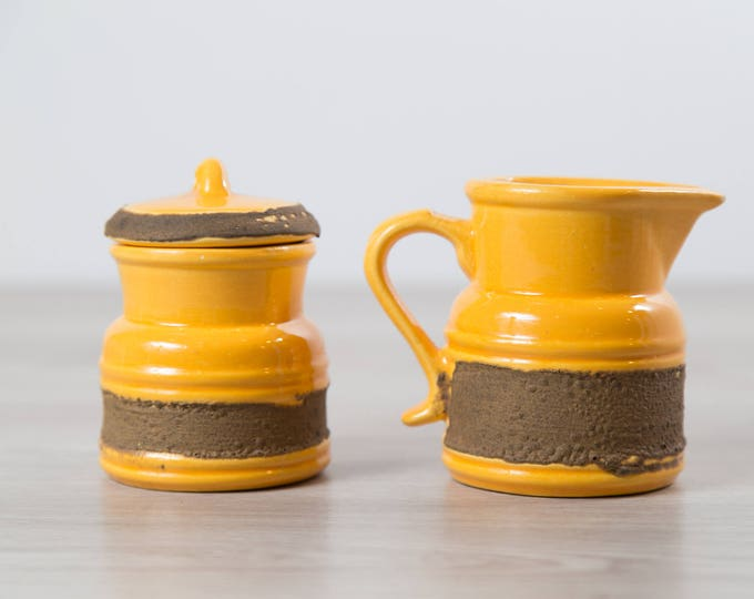 Vintage Yellow Sugar and Creamer Set - Laurentian Pottery Style with Yellow Molten Lava Design