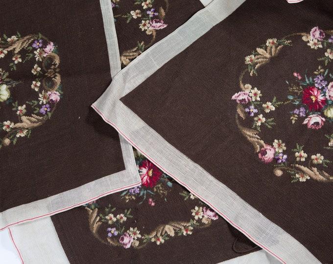 Vintage Needlepoint Artwork - Geometric Orange, Yellow, Brown Embroidered Cross Stitch Fabric Art Tapestry
