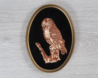 Vintage Owl Artwork / Small Framed Embroidered Cross Stitch Perched Owl Fabric Art Tapestry