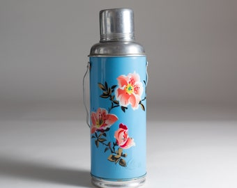 vintage thermos vacuum bottle - Blue Colored Floral Metal and Glass Lined Vacuum Flask Coffee Thermos with Cork Stopper - Asian Swallow