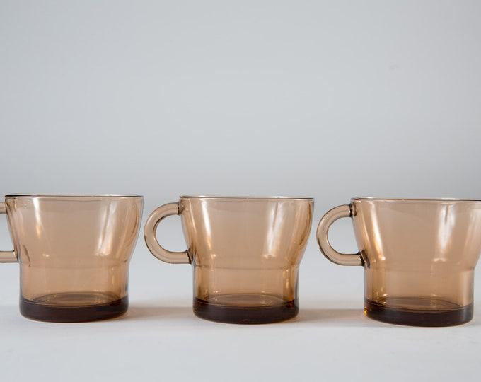 Vintage Glass Mugs - Set of 3 Smoky Brown Coffee or Tea Mugs with Handles - Microwave Safe