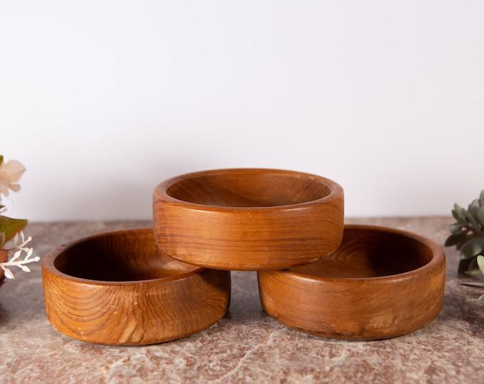 Teak Salad Bowl Set - 3 Vintage Solid Exotic Wood Food Safe Serving Appetizer Hand Carved Hardwood Danish Modern Nordic Space Age Bowls
