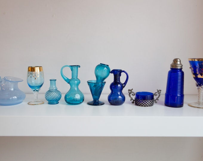 10 piece Glassware - Antique and Vintage Collectible Navy Blue and Baby Blue Handmade Glass - Hand Blown Studio Glass-