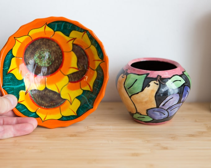 Painted Wall Plate and Vase - Sunflower Ceramic Bowl - Flower and Pear Pattern Pottery- Fall Autumn Thanksgiving Decor