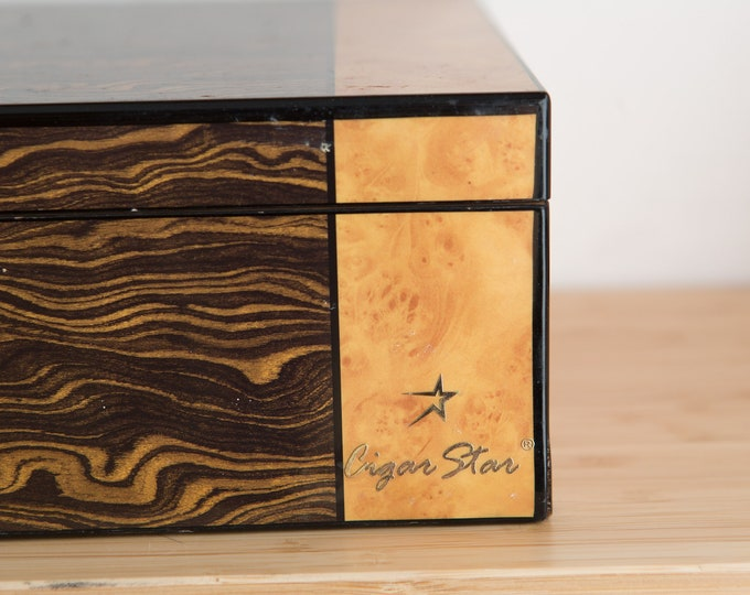 Wood Cigar Humidor - Cigar Star Birds Eye Maple Veneer Cedar Wood Cigar Box - Tobacciana Tobacco Box w Thermal Hygrometer - Groomsman gift
