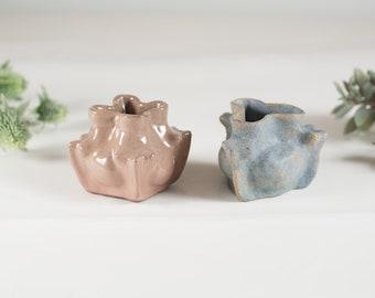 Minimalist Vintage Glazed Ceramic Bud Vases - Blue and Dusty Rose Earthtone Pottery Dish - Southwestern Boho Modern Decor
