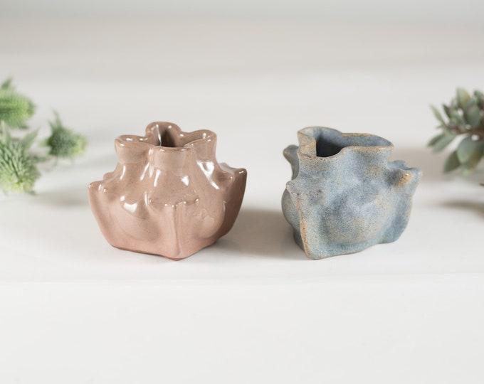 Minimalist Vintage Glazed Ceramic Bud Vases - Blue and Dusty Rose Earthtone Pottery Dish - Southwestern Boho Modern Decor