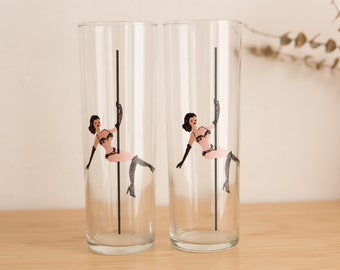 Vintage Pole Dancer Cocktail Glasses - Pair of Collins Glasses with Sexy Lady in Bra and Underwear - 8oz Gin Tonic Glassware Barware