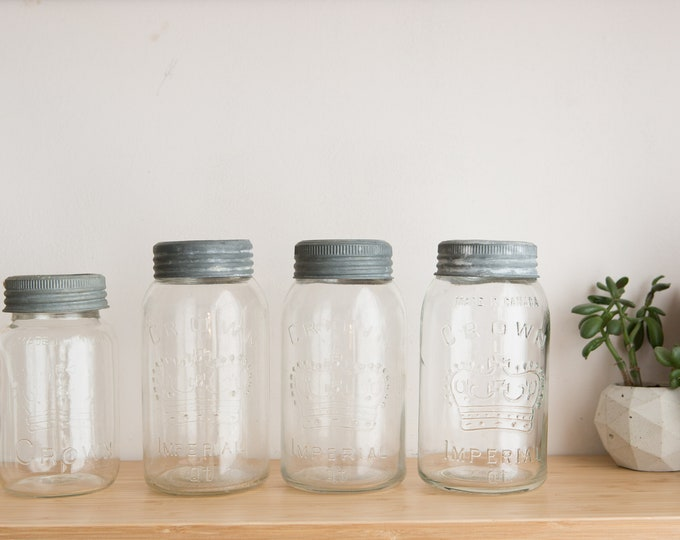 6 Mason Jars - Canadian Glass Crown Emblem Canning Jars with Clear Glass and Zinc Lids - Made in Canada - Kitchen Canister Storage or Vases