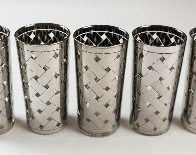 5 Silver Overlay Highball Tumblers - 12oz Hand Blown Cocktail Glasses with Metallic Bands - Hollywood Regency Bohemian Barware