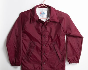 Boys Vintage Jacket - 80's/90's Maroon Toddler / Youth size Snap Button Snowmobiling Outdoor Lightweight Windbreaker Coat