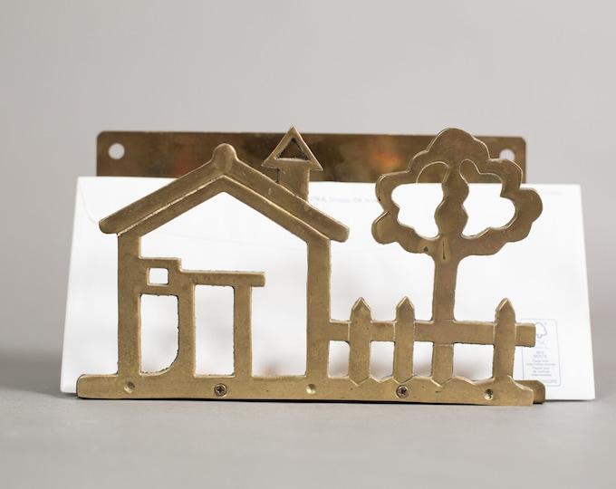 Brass Letter Rack - Vintage Gold Colored Envelope Holder With House, Fence, Tree - Home Office Hallway Desk Mail Storage Decor Paper Storage