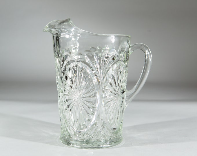 Vintage Glass Pitcher - Starburst Pattern Cocktail Juice Jug - Antique Victorian Style Glass Pitcher