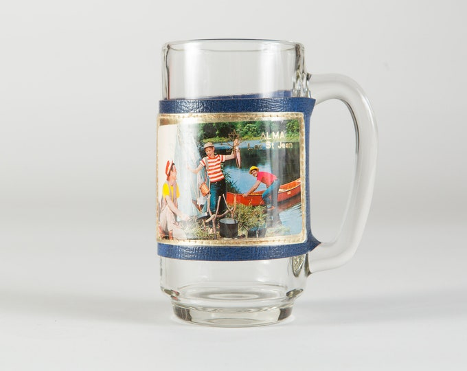 Canadian Camping Mug - Vintage Beer or Cocktail Glass with Family Camping at Alma Lac St. Jean, Quebec - Gift for Dad - Father's Day Gift