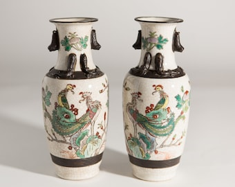 Vintage Asian Vases - Ceramic Dynast Painted Urns with Japanese / Chinese Imagery - Crackled Pottery Jars with Peacock Bird Motif