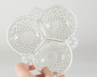 Vintage Fenton Glass Divided Tray - French Opalescent Hobnail Dish - Mothers Day Gift - Gift for Mom - Grandma Gift