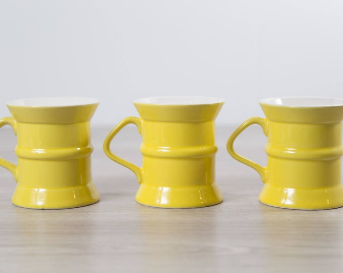 3 Vintage Yellow Mugs / Ceramic Coffee or Tea Mugs