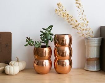 Vintage Copper Mugs - Coppercraft Guild Roly Poly Cocktail Cups - Mid Century Boho Modern Short Tumblers - Pot Planters - Copper Planters