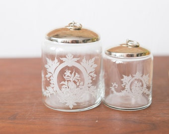 Victorian Style Lidded Jars - Antique Glass Canisters with Floral Patten and Metal Lid - Farmhouse Decor - Canadiana Rustic Storage Jars