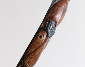 Vintage Wooden Cane - Dark Mahogony Colored Wood Jamaican Walking Stick with Carved Head -Toronto, Canada Vintage by Second Voyage