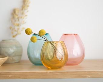 Glass Art Vases - Handblown Studio Glass - Mid Century Modern Blue, Pink and Yellow Glass Home Decor