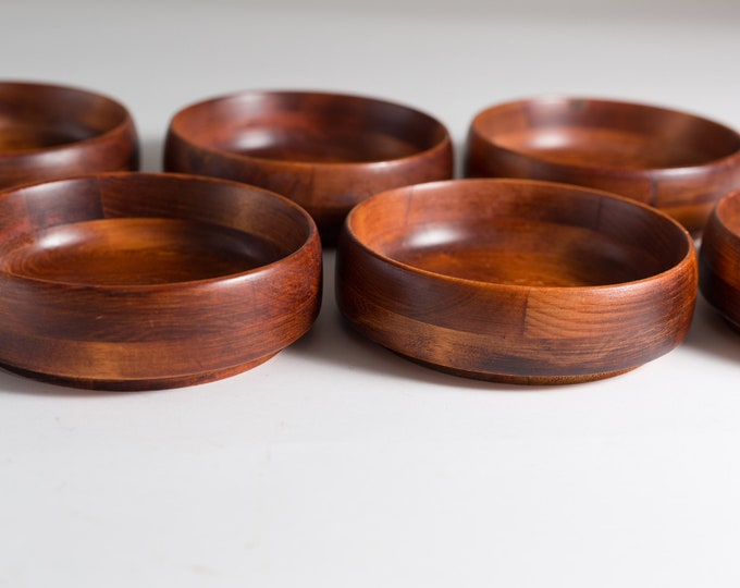 7 Wood Salad Bowls - 1960's Vintage Solid Maple Wood Baribocraft Appetizer Bowls - Food Safe Serving Dish - Hand Carved Hardwood