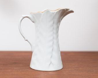 Vintage Feather Creamer - Cream White Glaze with Gold Trim - Milk Dispenser with Spout
