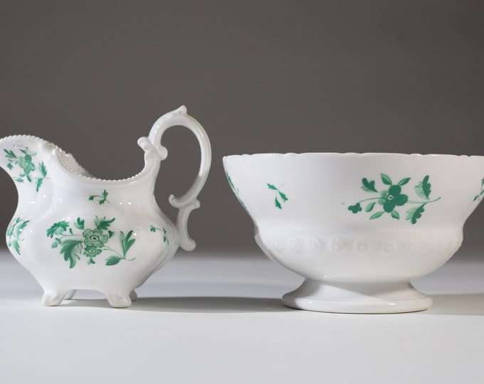Antique Wash Basin Set - Irish 1800's Green and White Washing Bowl, Spouted Pitcher - Ireland Decor