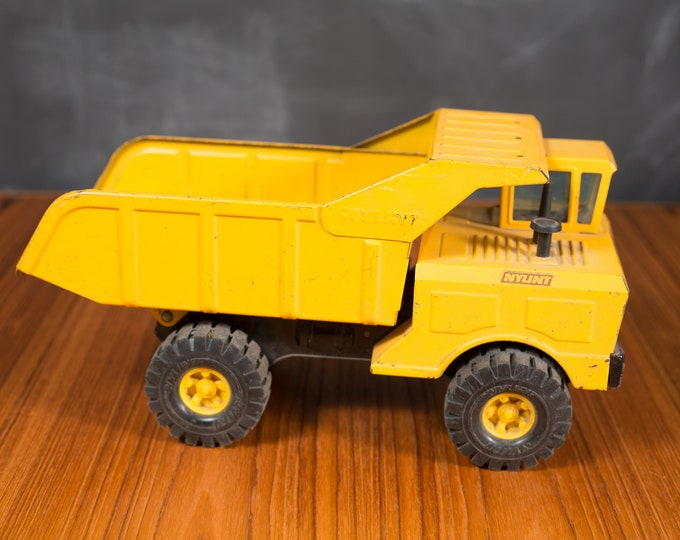 1960's Vintage Yellow Dump Truck Hauler Trailer Tractor - Collectible Antique Metal Toy Functional